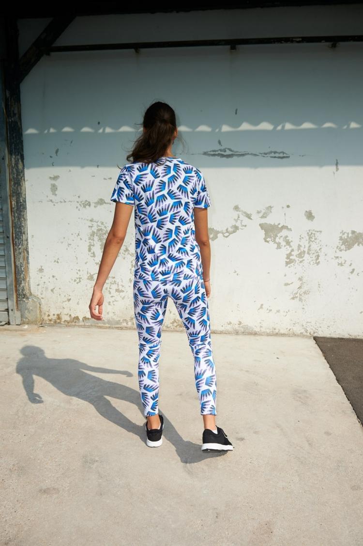 Suzanne Jersey - Winged Blue & Purple pattern - Back view