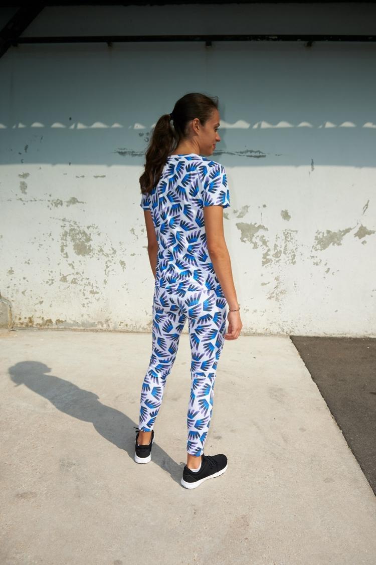 Suzanne Jersey - Winged Blue & Purple pattern - 3/4 Back view