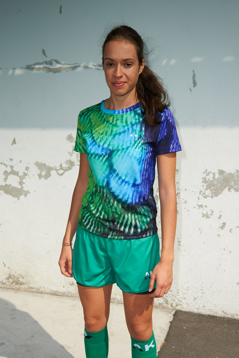 Suzanne Jersey - Pixel Plumage Blue & Green - Women's football - Front view