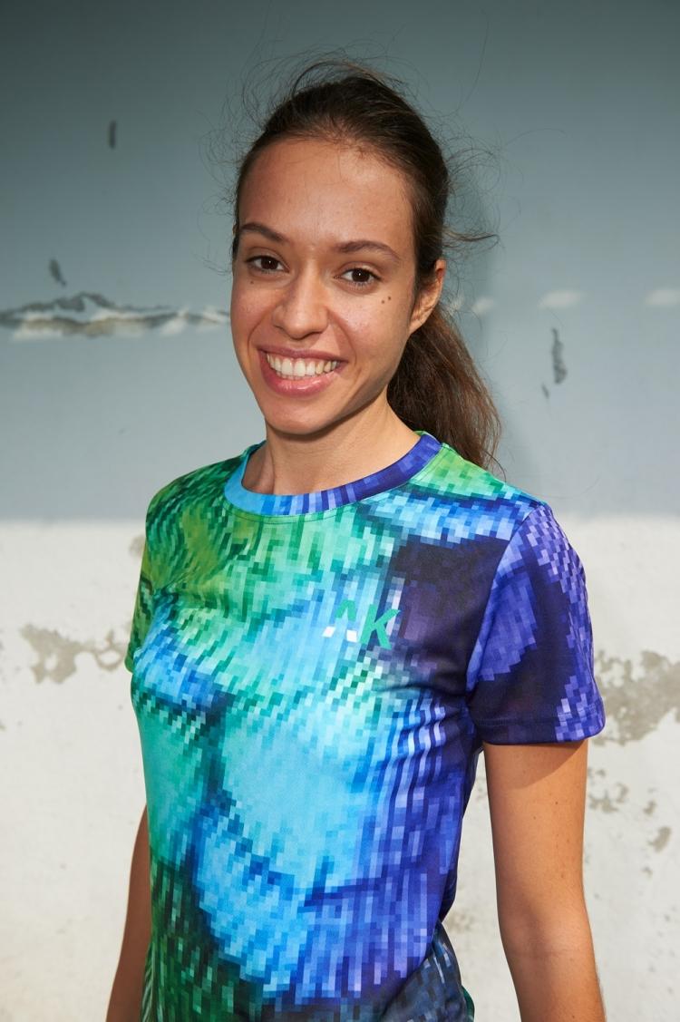 Maillot Suzanne - Pixel Bleu & Vert - Football Femme - Vue de face partie supérieure