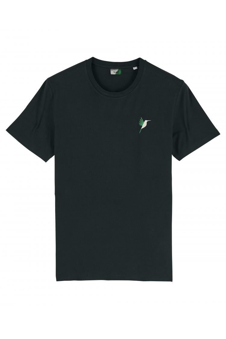 T-shirt brodé unisexe - noir vue face