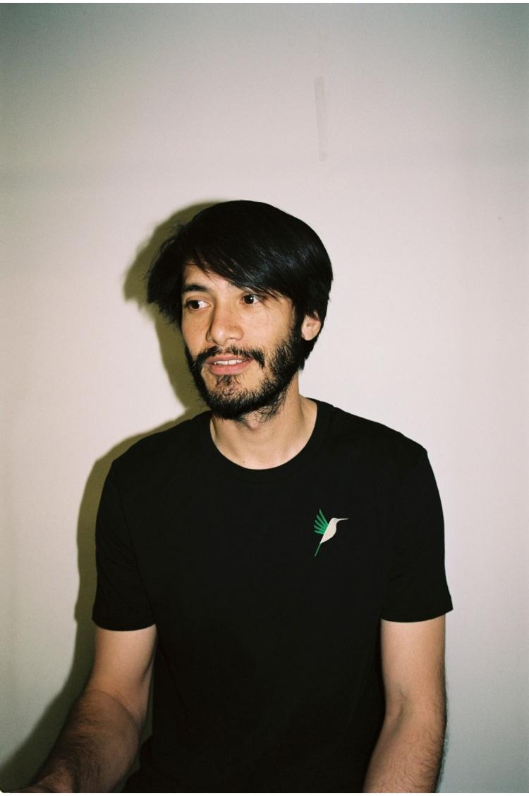 T-shirt homme noir vue face colibri